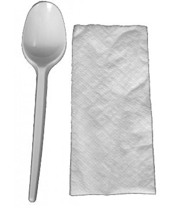 Set din plastic lingura+servetel -100 bucati
